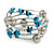 Teal Shell Nugget, Mirrored Ball Bead Multistrand Flex Bracelet - Medium