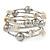 Antique White Shell Nugget, Mirrored Ball Bead Multistrand Flex Bracelet - Medium