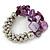 Purple Shell Mirrored Silver Acrylic Bead Flex Bracelet - 17cm L - view 4