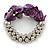 Purple Shell Mirrored Silver Acrylic Bead Flex Bracelet - 17cm L - view 5