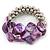 Purple Shell Mirrored Silver Acrylic Bead Flex Bracelet - 17cm L
