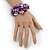 Purple Shell Mirrored Silver Acrylic Bead Flex Bracelet - 17cm L - view 2