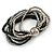 Multistrand Glass and Plastic Bead Flex Bracelet with a Ball (Black/ Grey/ Silver) - 17cm L