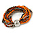 Multistrand Glass and Plastic Bead Flex Bracelet with a Ball (Orange/ Silver/ Peacock) - 18cm L - view 6