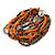 Multistrand Glass and Plastic Bead Flex Bracelet with a Ball (Orange/ Silver/ Peacock) - 18cm L - view 5