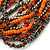 Multistrand Glass and Plastic Bead Flex Bracelet with a Ball (Orange/ Silver/ Peacock) - 18cm L - view 4