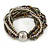 Multistrand Glass and Plastic Bead Flex Bracelet with a Ball (Silver/ Grey/ Bronze) - 18cm L