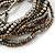Multistrand Glass and Plastic Bead Flex Bracelet with a Ball (Silver/ Grey/ Bronze) - 18cm L - view 4