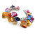 Multicoloured Sea Shell, Faux Pearl Bead Floral Cuff Bracelet In Silver Tone - Adjustable - view 3