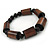 Brown Wood, Black Acrylic Bead Flex Bracelet - 18cm L - view 3