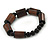 Brown Wood, Black Acrylic Bead Flex Bracelet - 18cm L - view 5