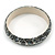 Grey Mosaic Shell Component Resin Bangle Bracelet - 18cm L/ Medium - view 3