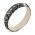 Grey Mosaic Shell Component Resin Bangle Bracelet - 18cm L/ Medium