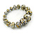 Light Grey/ Black/ Gold Graduated Wooden Bead Flex Bracelet - 19cm L