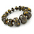 Grey/ Black/ Gold Graduated Wooden Bead Flex Bracelet - 19cm L - view 4
