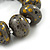 Grey/ Black/ Gold Graduated Wooden Bead Flex Bracelet - 19cm L - view 3