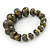 Grey/ Black/ Gold Graduated Wooden Bead Flex Bracelet - 19cm L - view 5