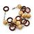 3 Strand Brown Wood Bead and Loop Bracelet In Silver Tone Metal - 21cm L/ 5cm Ext - view 4