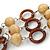 3 Strand Brown Wood Bead and Loop Bracelet In Silver Tone Metal - 21cm L/ 5cm Ext - view 3
