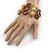 3 Strand Brown Wood Bead and Loop Bracelet In Silver Tone Metal - 21cm L/ 5cm Ext - view 2