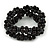 Black Ceramic Bead Loop Flex Bracelet - 18cm L