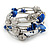 Navy Blue Shell Nugget, Mirrored Faceted Bead Multistrand Flex Bracelet - Medium
