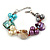 Multicoloured Shell , Faux Pearl Bead Cluster Bracelet - 16cm L/ 3cm Ext - For Smaller Wrists
