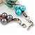 Multicoloured Shell , Faux Pearl Bead Cluster Bracelet - 16cm L/ 3cm Ext - For Smaller Wrists - view 6