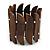 Wide Brown Wood Flex Bracelet - 18cm L