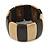 Dark Brown/ Natural Wooden Station Flex Bracelet - 18cm L - view 3