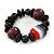 Black, Purple Wood and Resin Bead Stretch Bracelet - 16cm L - For Smaller Wrists - view 3