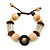 Brown/ Natural Wood and Transparent Acrylic Bead Bracelet with Cotton Cords - Adjustable