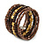 Brown/ Gold Wood, Acrylic Bead Coiled Flex Bracelet - 19cm L