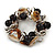 Brown/ Natural Sea Shell Black Acrylic Bead with Silver Tone Metal Links Flex Bracelet - 17cm L