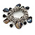 Sea Shell, Ceramic Bead, Metal Link Flex Charm Bracelet (Black, Grey) - 17cm L - view 1