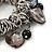 Sea Shell, Ceramic Bead, Metal Link Flex Charm Bracelet (Black, Grey) - 17cm L - view 3
