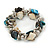 Blue/ Natural Sea Shell Silver Tone Acrylic Bead Flex Bracelet - 18cm L