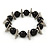 Large Black Ceramic Ball with Triangular Metal Station Flex Bracelet - 22cm L