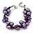 Purple Shell Nugget, Faux Pearl Bead Cluster Bracelet - 16cm L/ 3cm Ext - For Smaller Wrists