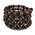 Black/ Plum Glass Bead Multistrand Flex Bracelet - Adjustable