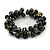 Black/ Gold Wood Bead Cluster Flex Bracelet - 18cm L - view 3
