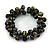Black/ Gold Wood Bead Cluster Flex Bracelet - 18cm L - view 1