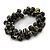 Black/ Gold Wood Bead Cluster Flex Bracelet - 18cm L - view 4