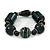 Chunky Dark Green/ Black Resin Bead Flex Bracelet - 18cm L