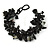 Black/ Dark Grey Stone, Glass, Shell Cluster Bead Bracelet - 17cm L