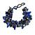 Blue/ Brown Stone, Glass, Shell Cluster Bead Bracelet - 17cm L