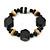Black, Natural Wood and Resin Bead Stretch Bracelet - 18cm L