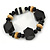 Black, Natural Wood and Resin Bead Stretch Bracelet - 18cm L - view 3