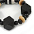 Black, Natural Wood and Resin Bead Stretch Bracelet - 18cm L - view 4
