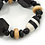 Black, Natural Wood and Resin Bead Stretch Bracelet - 18cm L - view 5